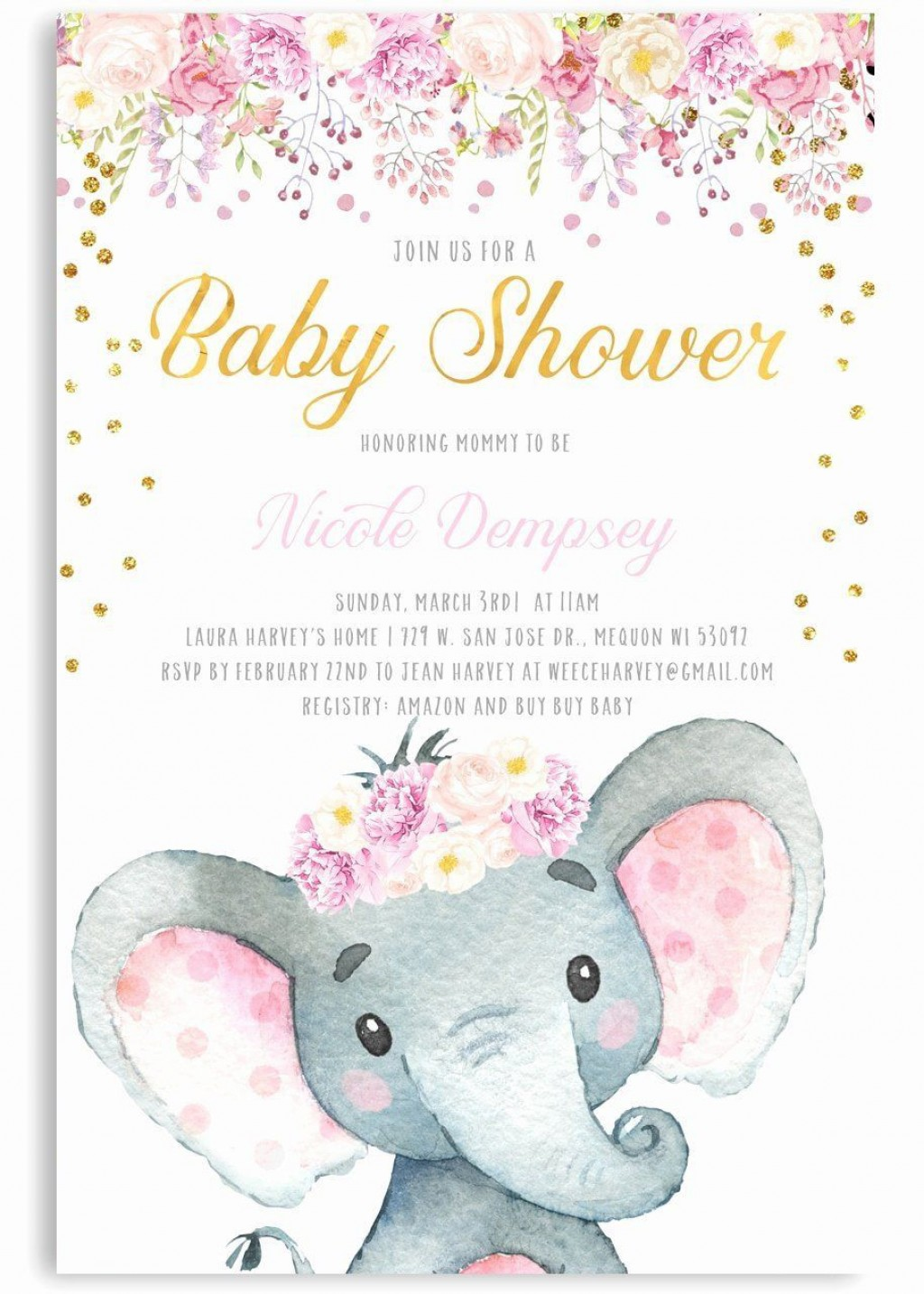 000 Amazing Elephant Baby Shower Invitation Girl Pink Sample Large
