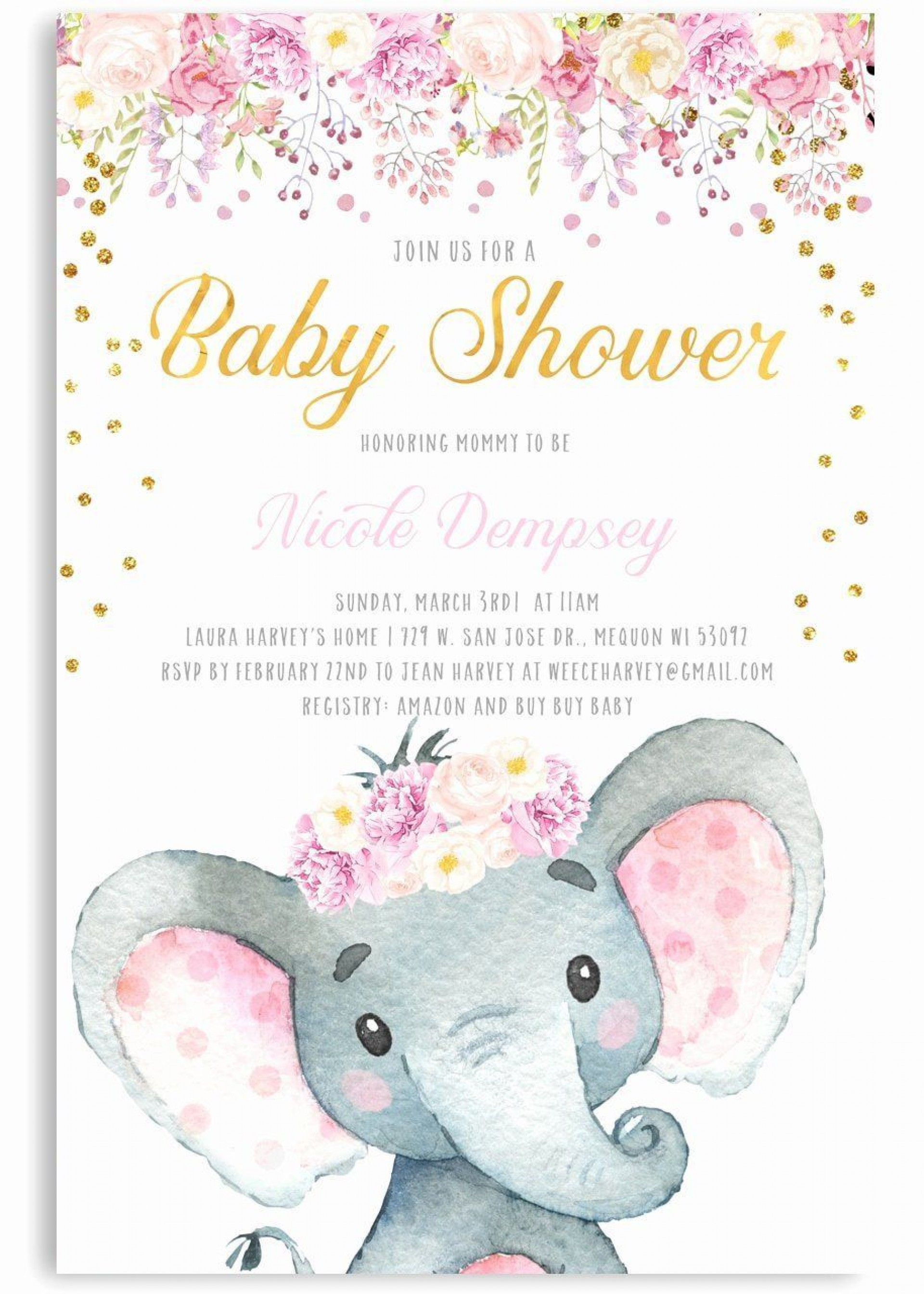 000 Amazing Elephant Baby Shower Invitation Girl Pink Sample 1920