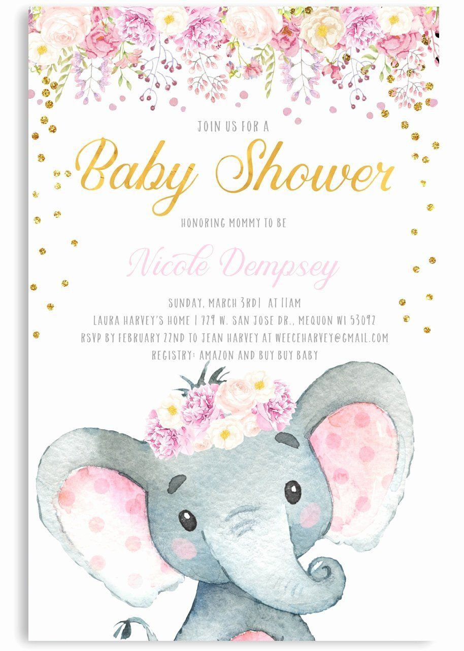 000 Amazing Elephant Baby Shower Invitation Girl Pink Sample Full