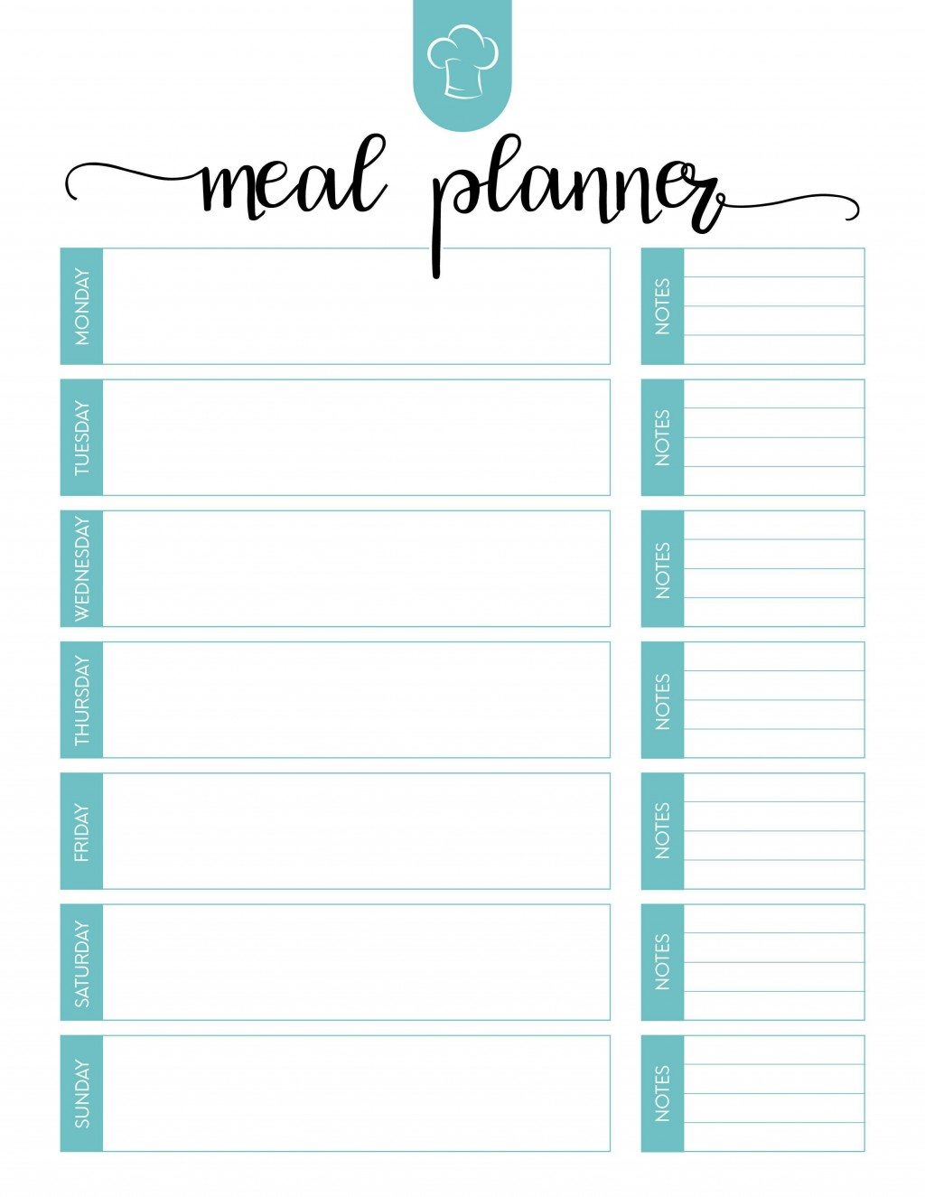000 Amazing Free Meal Planner Template Pdf High Resolution  Weekly With Grocery List MonthlyLarge