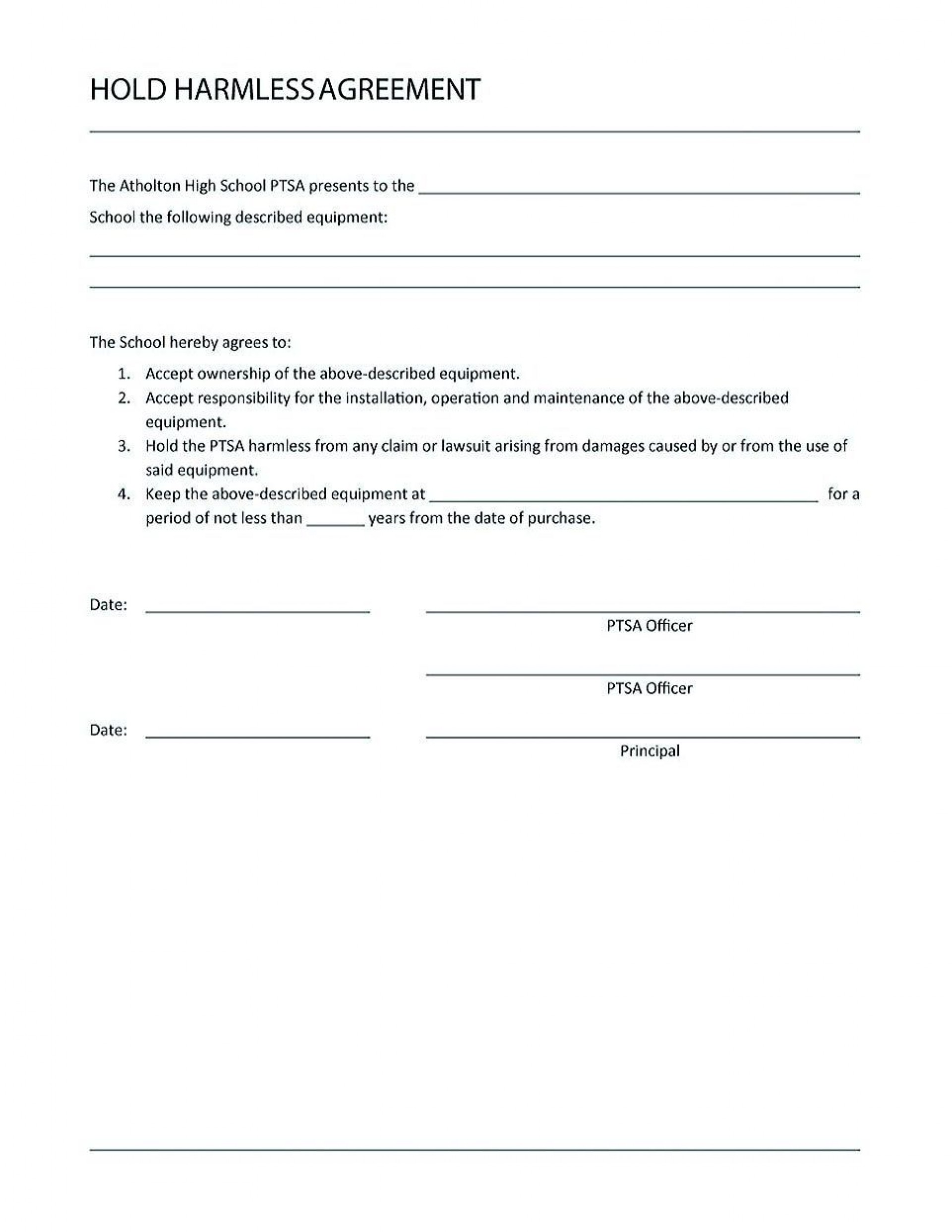 000 Amazing Hold Harmles Agreement Template Example  Canada Word Free Download1920