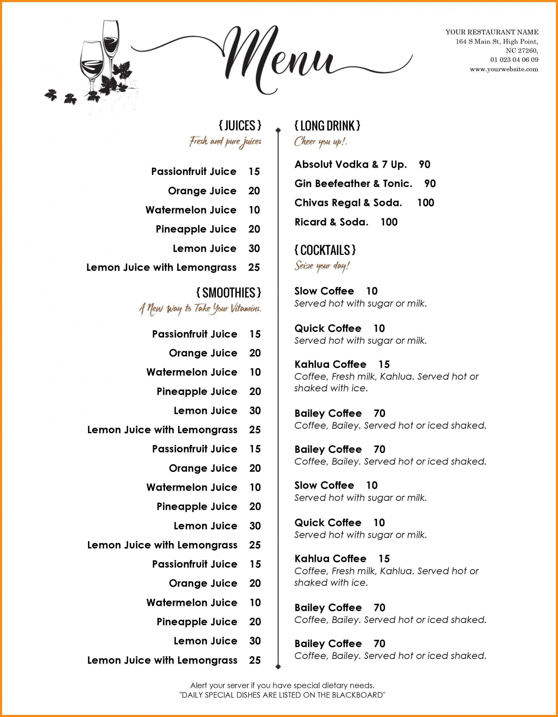 000 Amazing Menu Template Free Download Word High Resolution  Dinner Party Wedding1920