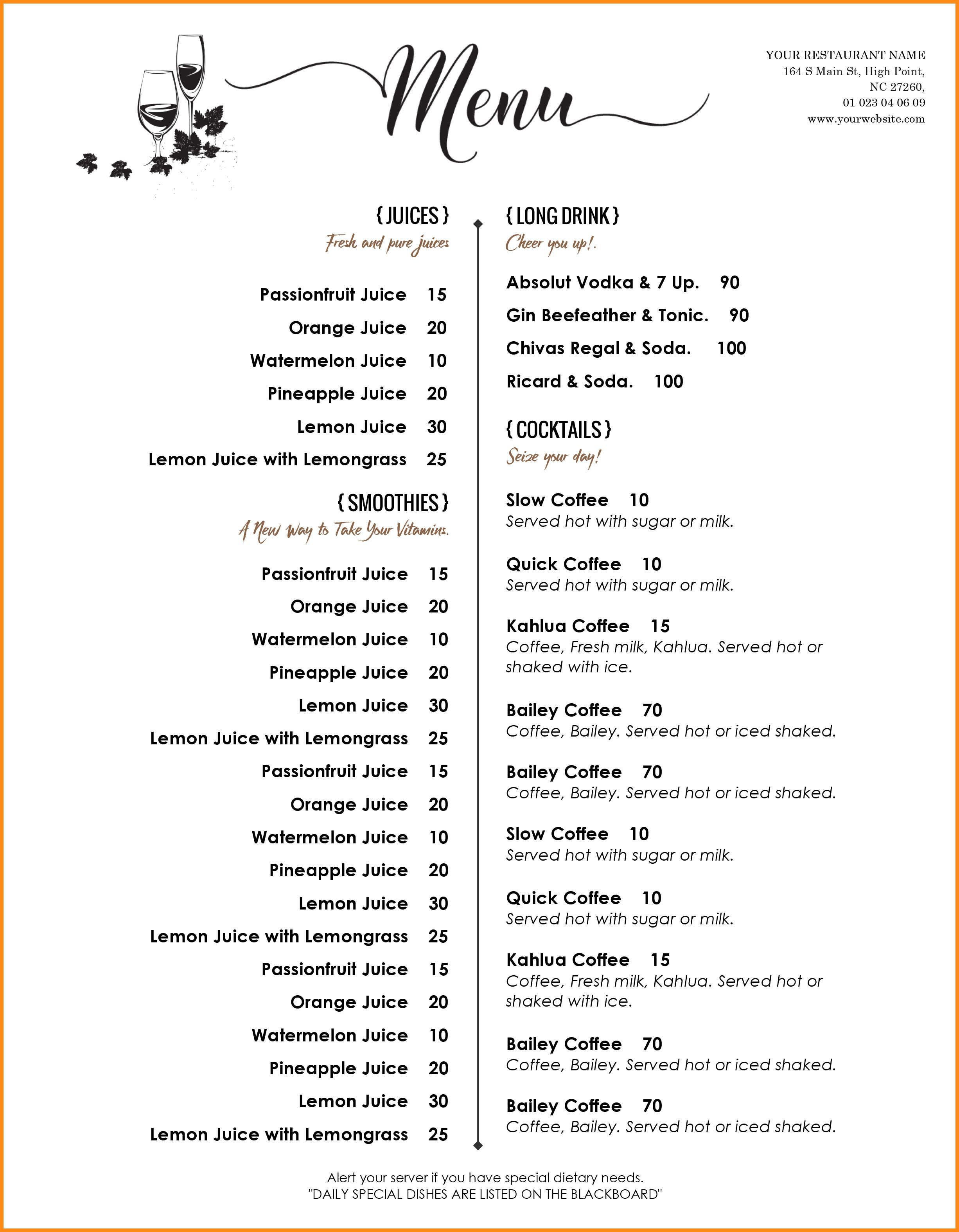 000 Amazing Menu Template Free Download Word High Resolution  Dinner Party WeddingFull