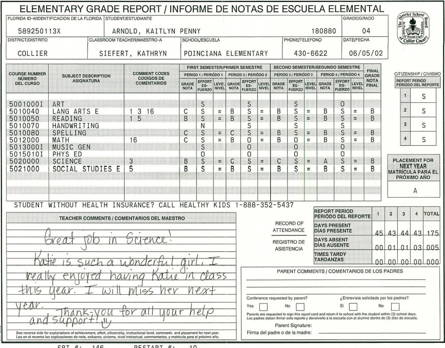 000 Amazing Middle School Report Card Template Pdf Inspiration 868