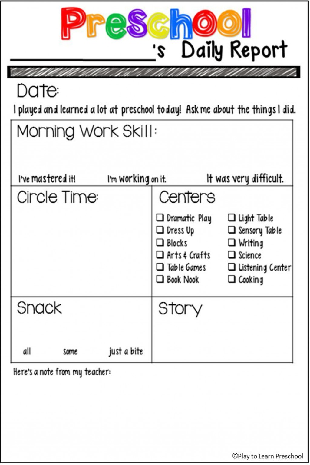 000 Amazing Preschool Daily Report Template Highest Clarity  Form Baby SheetLarge