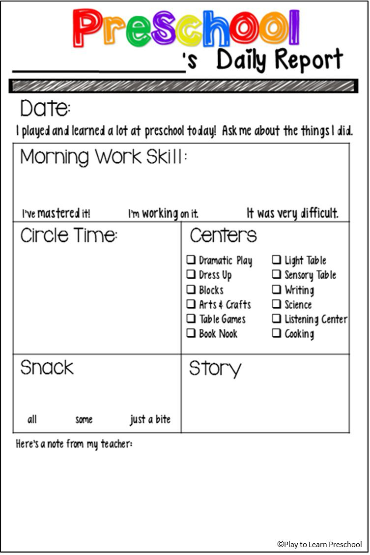 000 Amazing Preschool Daily Report Template Highest Clarity  Form Baby SheetFull
