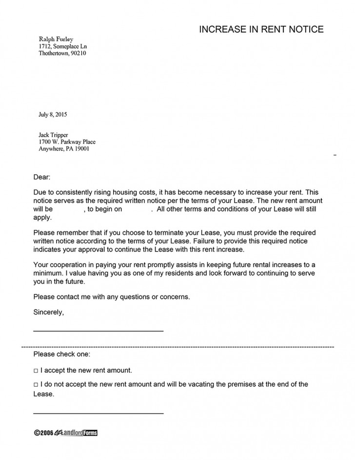 000 Amazing Rent Increase Letter Template Inspiration  Rental South Africa Nz Scotland728