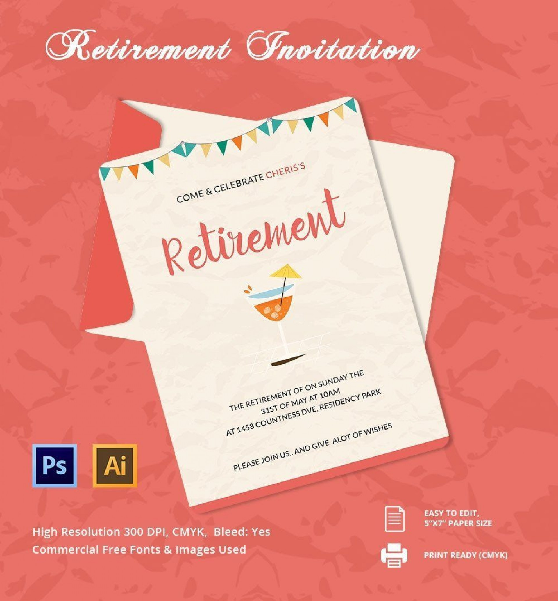 000 Amazing Retirement Party Invitation Template Free Inspiration  M Word1920