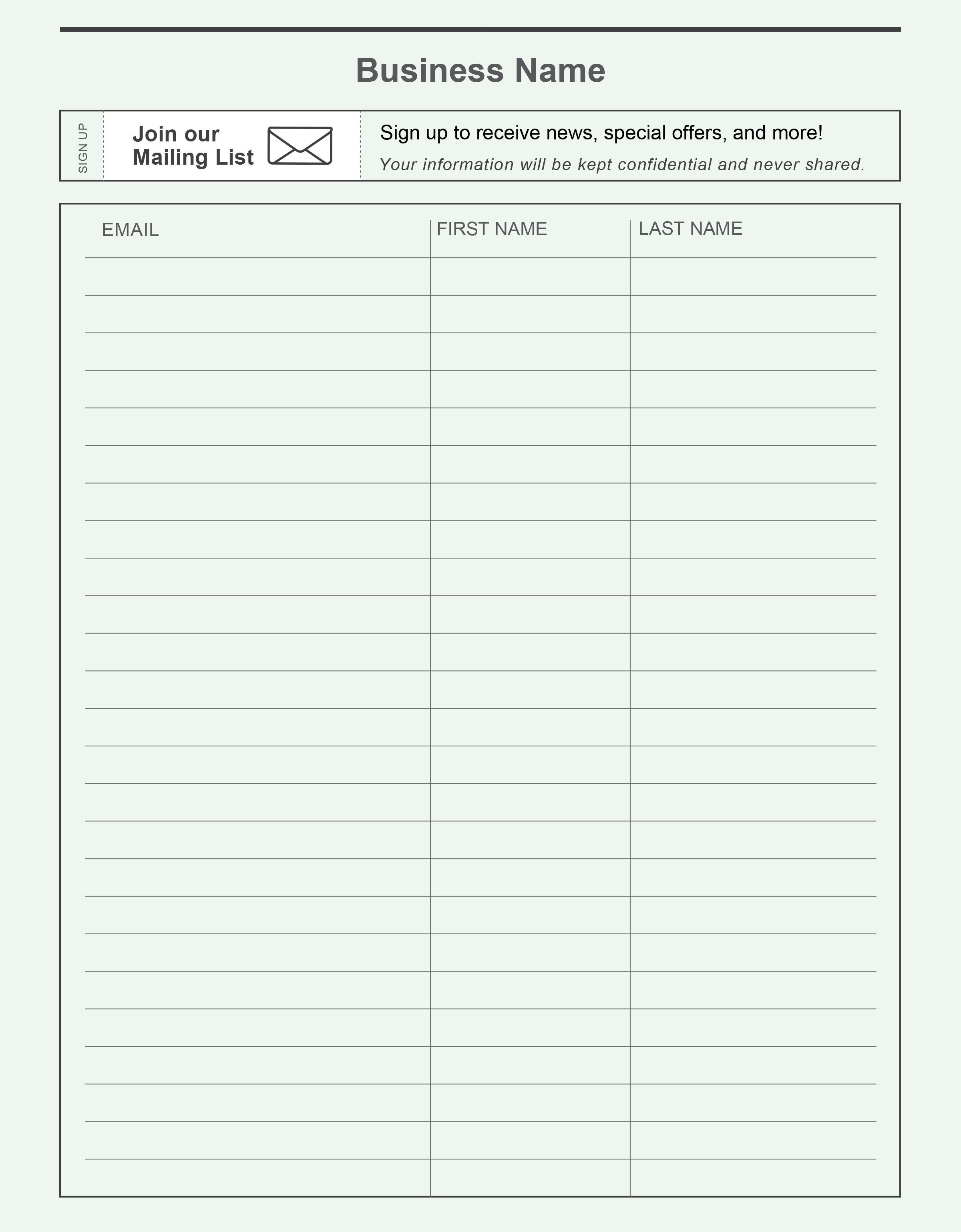 000 Amazing Sign Up Sheet Template Concept  Volunteer In Word WorkFull
