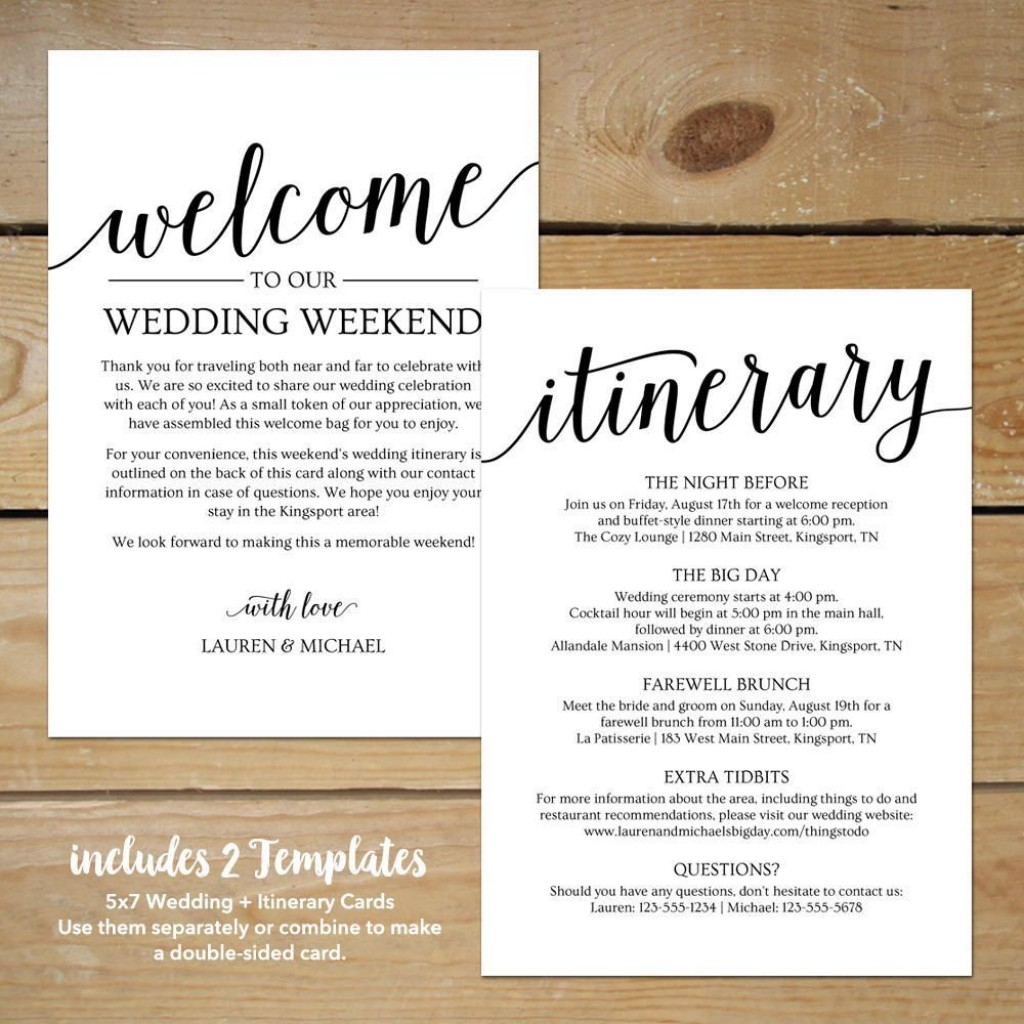 000 Archaicawful Destination Wedding Welcome Letter And Itinerary Template High Resolution Large