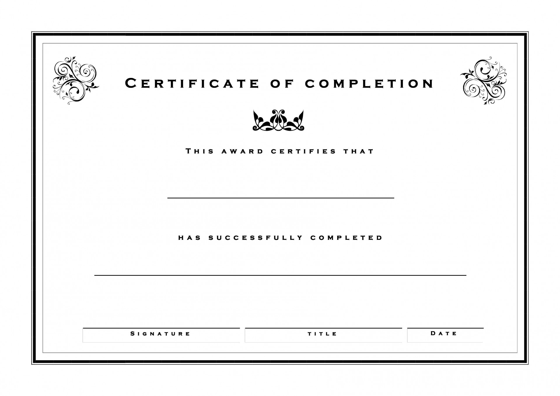 000 Archaicawful Free Certificate Of Completion Template Inspiration  Blank Printable Download Word Pdf1920