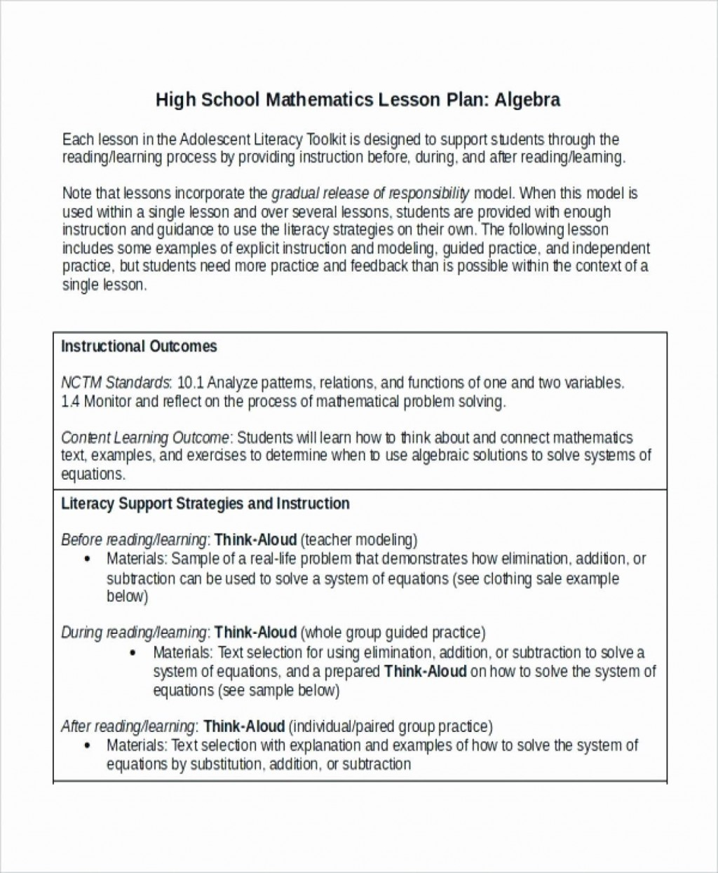 000 Archaicawful Lesson Plan Template High School Math Inspiration  Example For FreeLarge