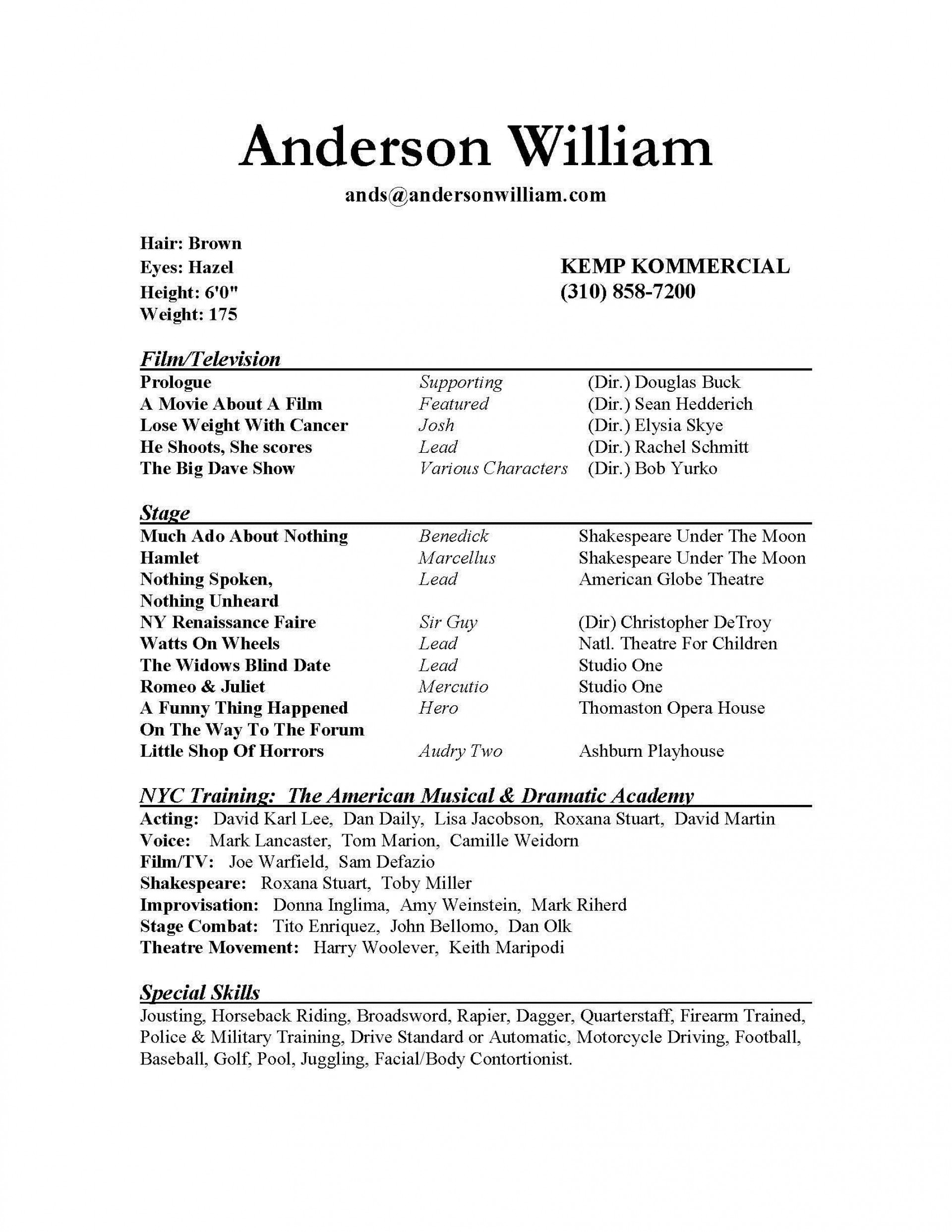 000 Archaicawful Musical Theater Resume Template Word Sample  Theatre1920