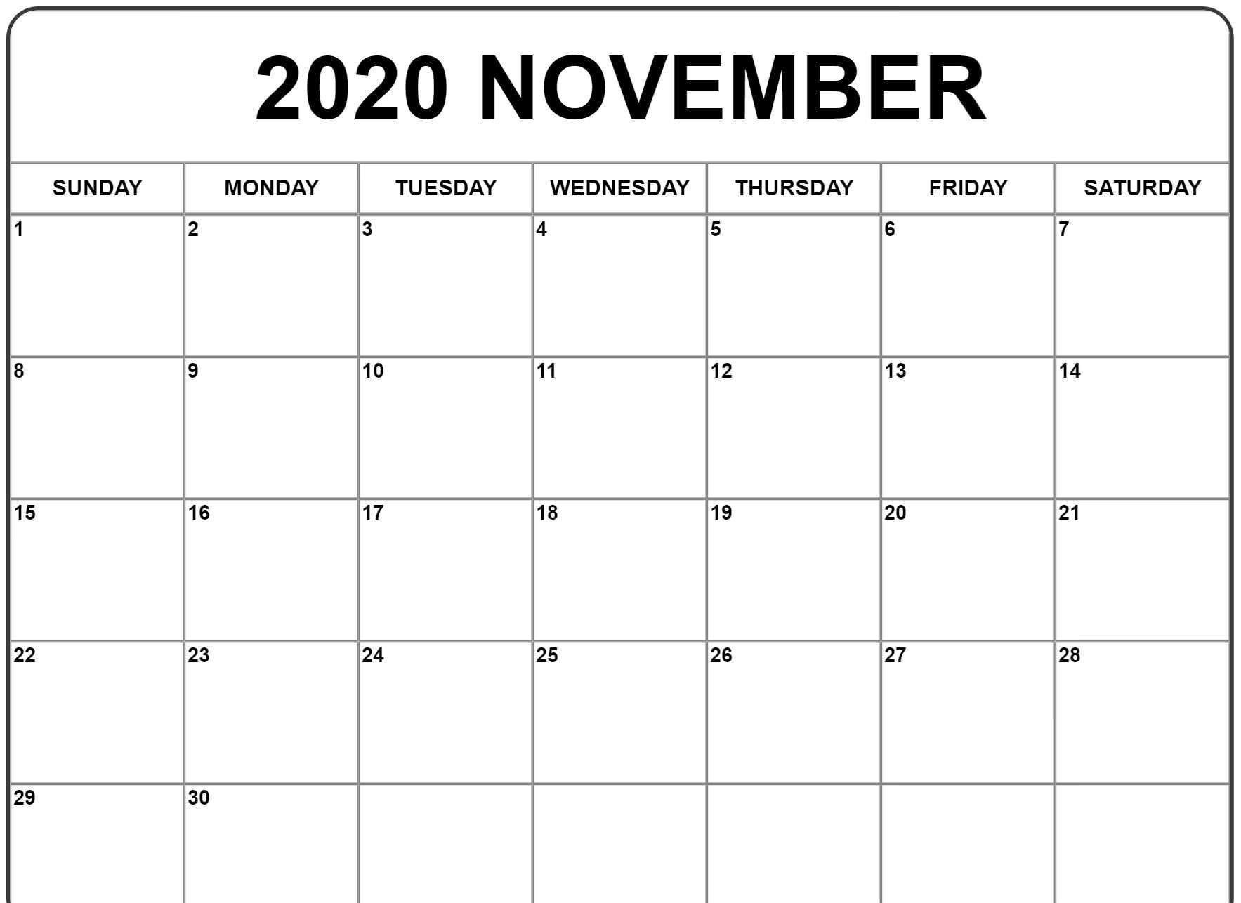 000 Archaicawful Printable Calendar Template November 2020 Highest Quality  FreeFull