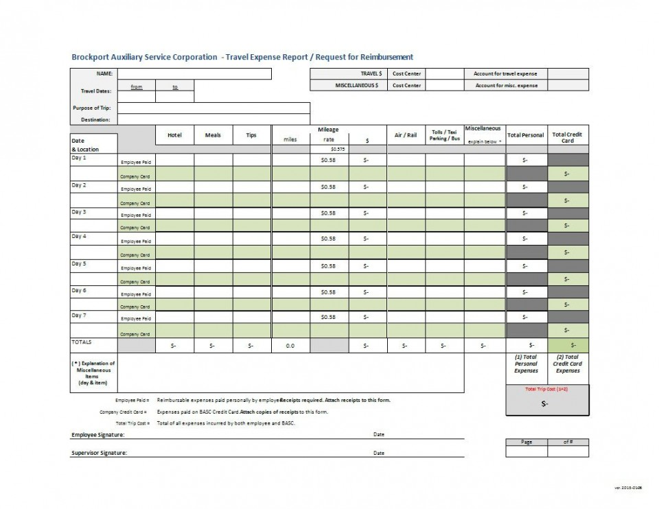 000 Archaicawful Travel Expense Report Template Highest Clarity  Format Excel Free960