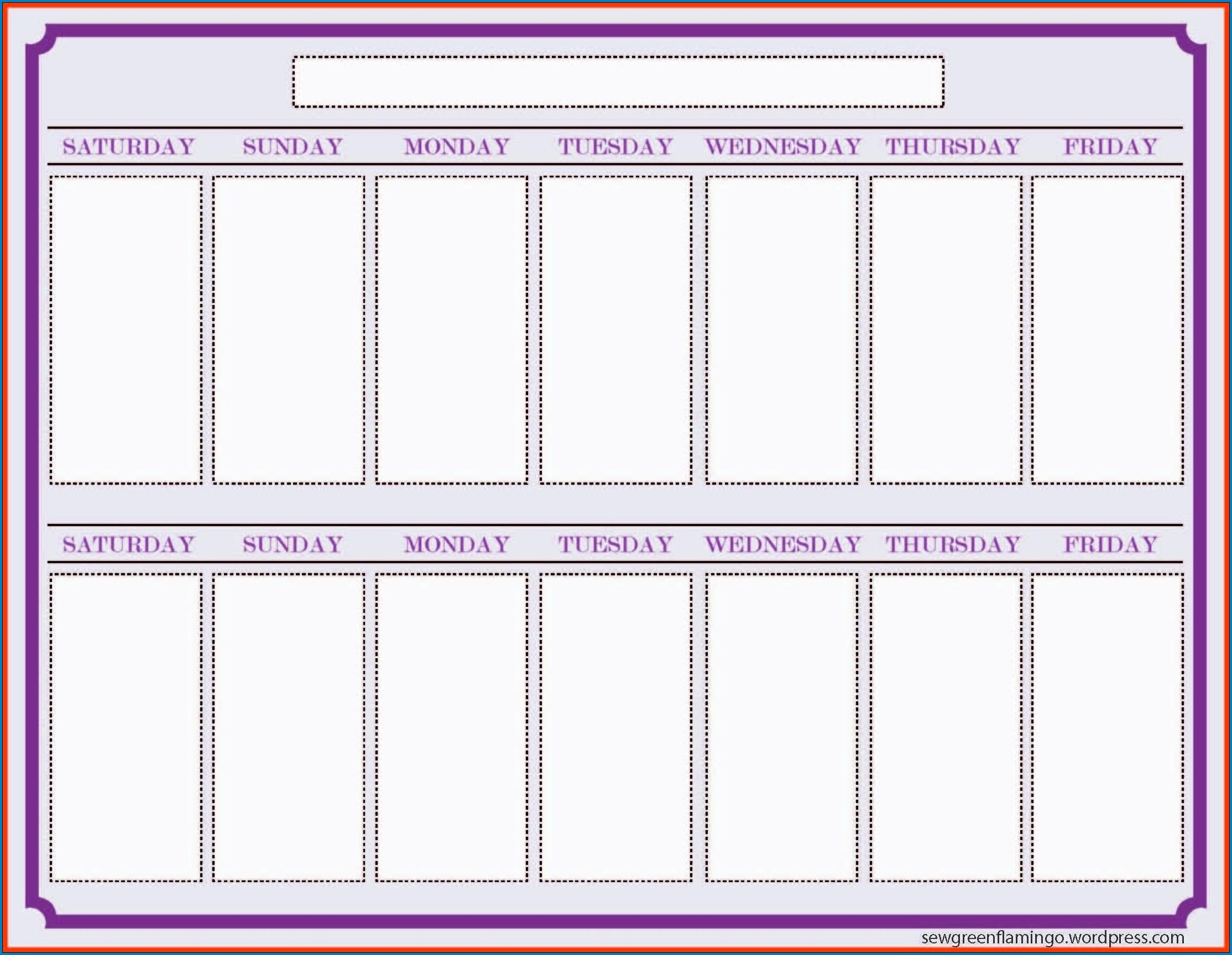000 Archaicawful Two Week Calendar Template Inspiration  2 Word PrintableFull