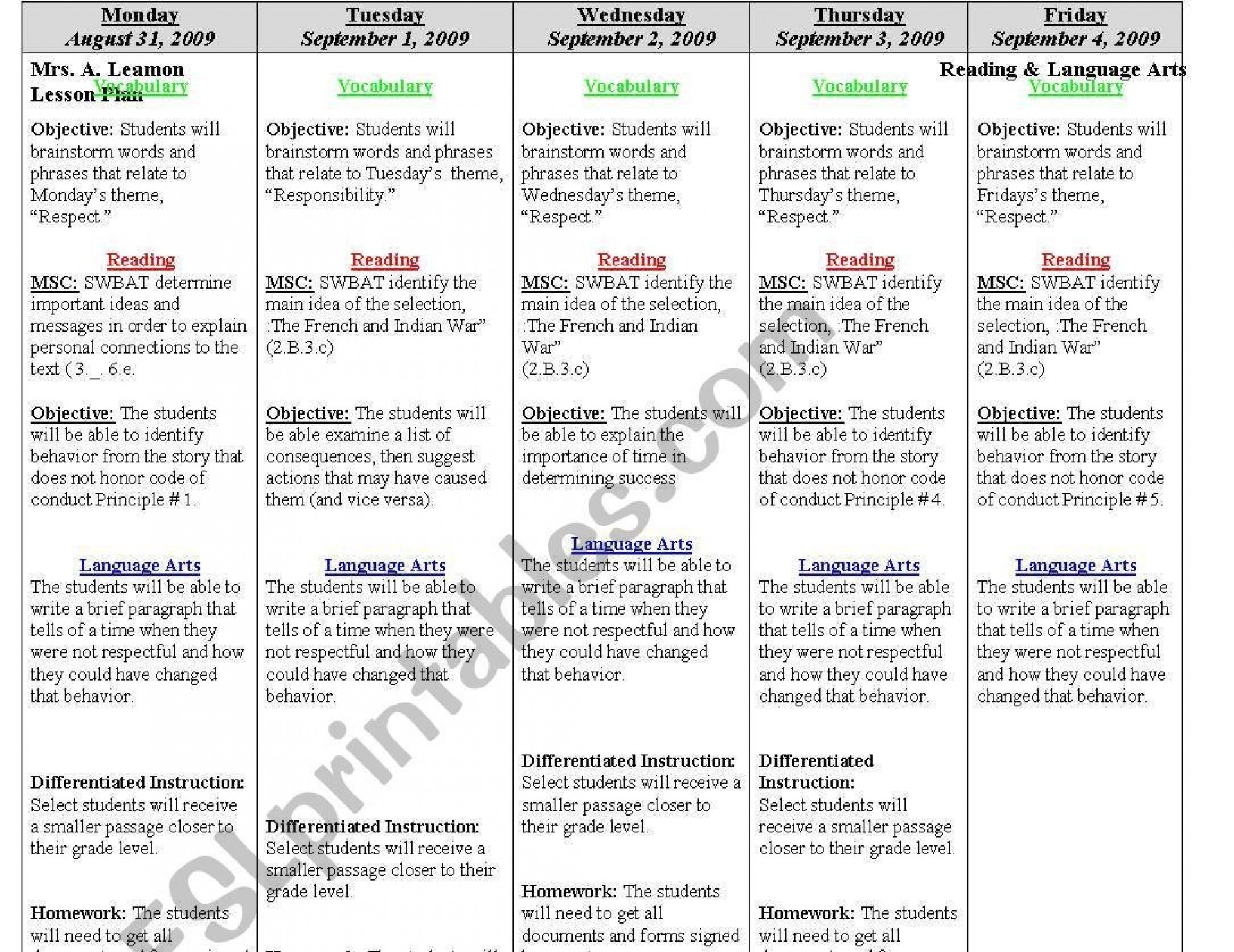 Weekly Lesson Plan Template Editable Addictionary