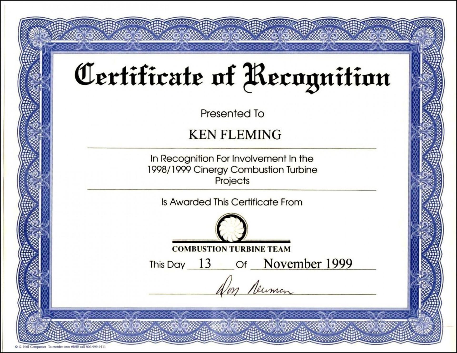 000 Astounding Certificate Of Recognition Sample Wording Design  Award1920