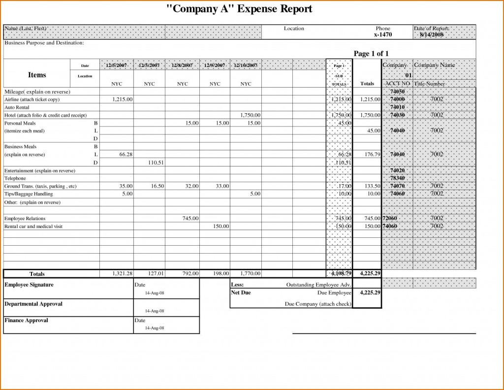 000 Astounding Expense Report Template Free High Definition  Pdf Excel DownloadLarge