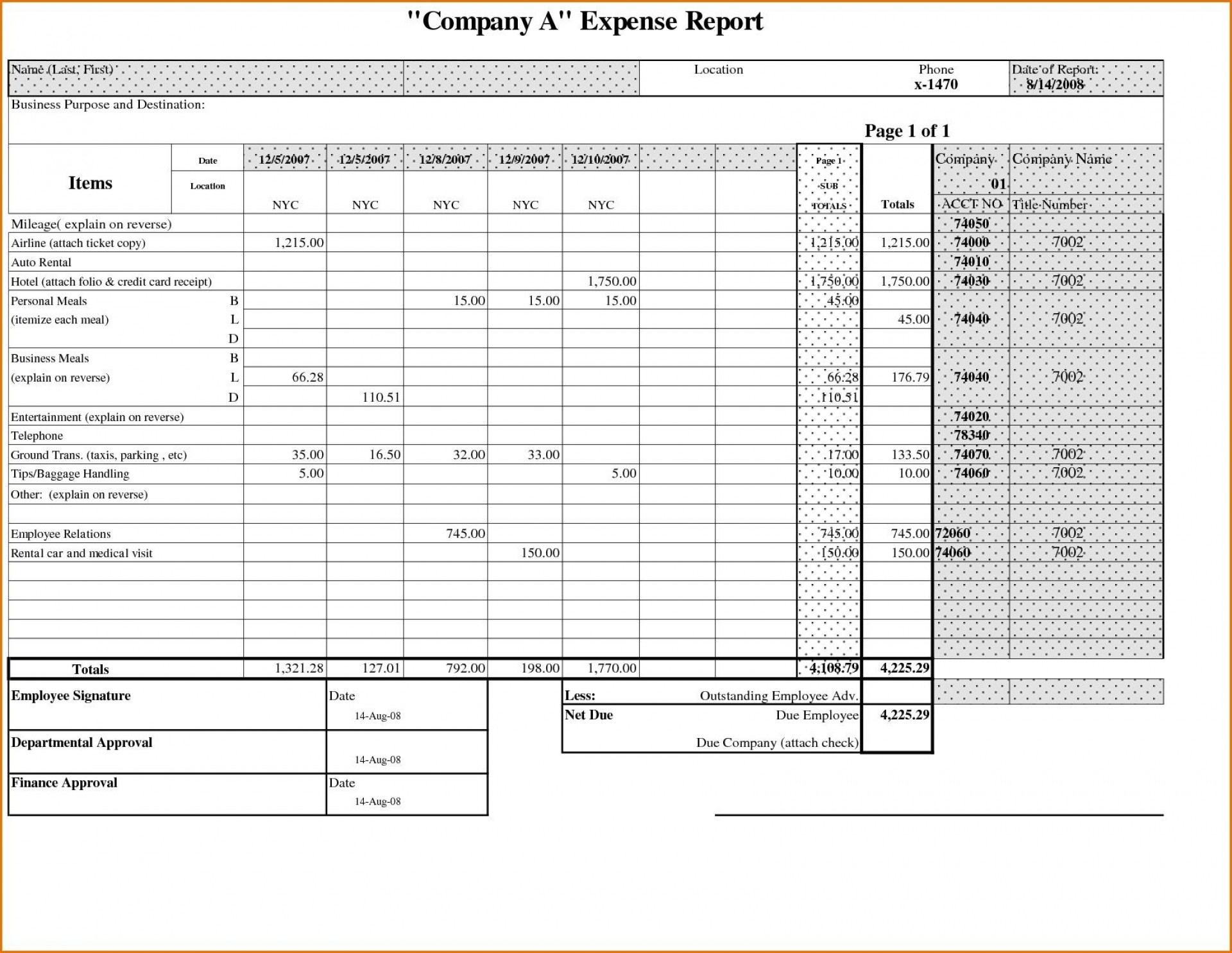 000 Astounding Expense Report Template Free High Definition  Pdf Excel Download1920