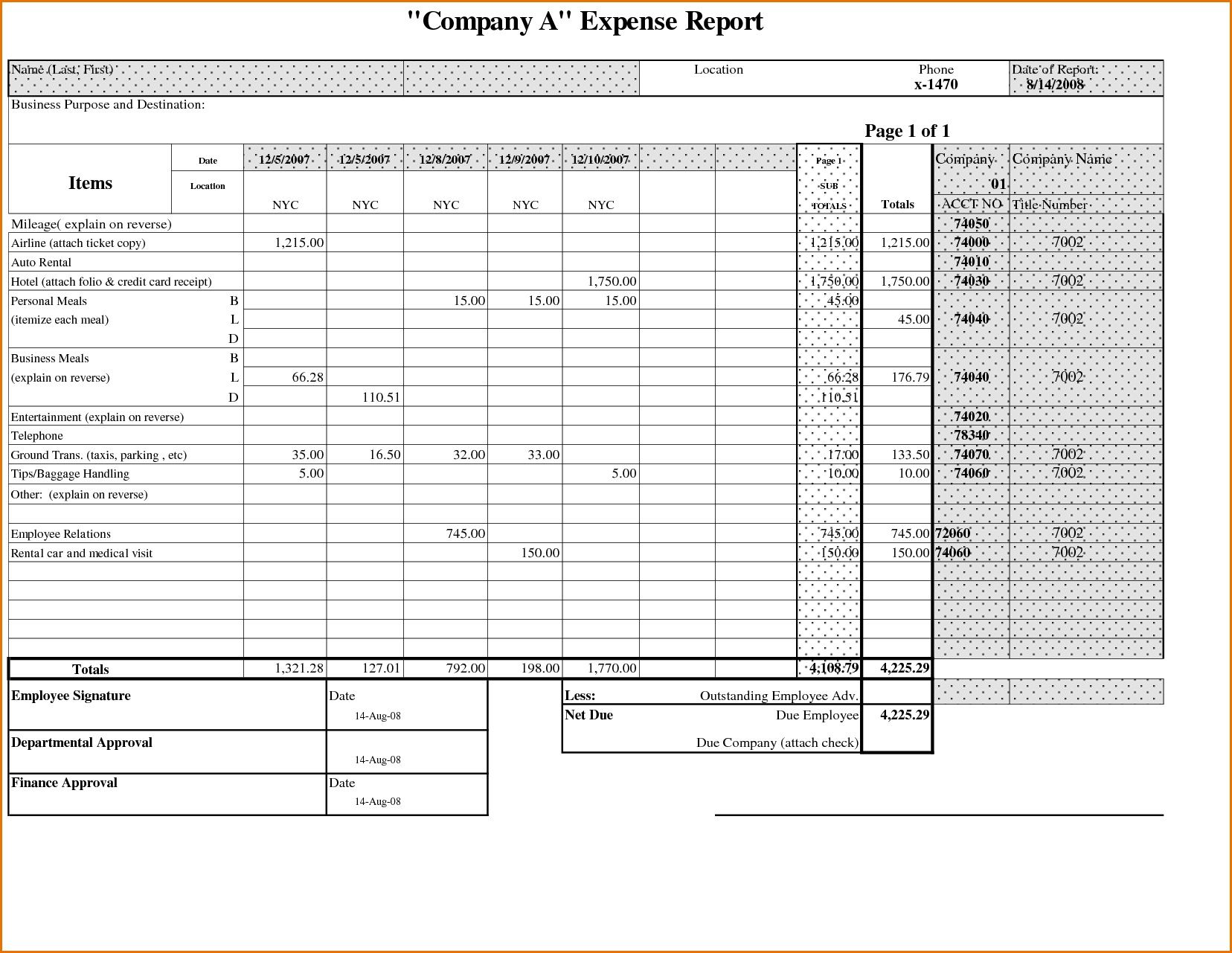 000 Astounding Expense Report Template Free High Definition  Pdf Excel DownloadFull