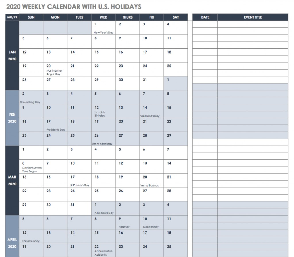 000 Astounding Free Excel Calendar Template Concept  2020 Monthly Download Biweekly Payroll 2018Large