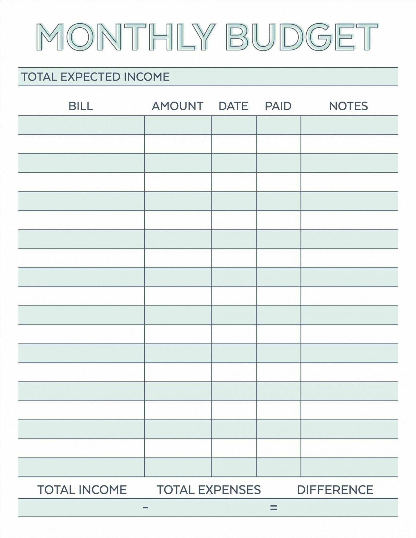 000 Astounding Free Simple Home Budget Template Photo 1400