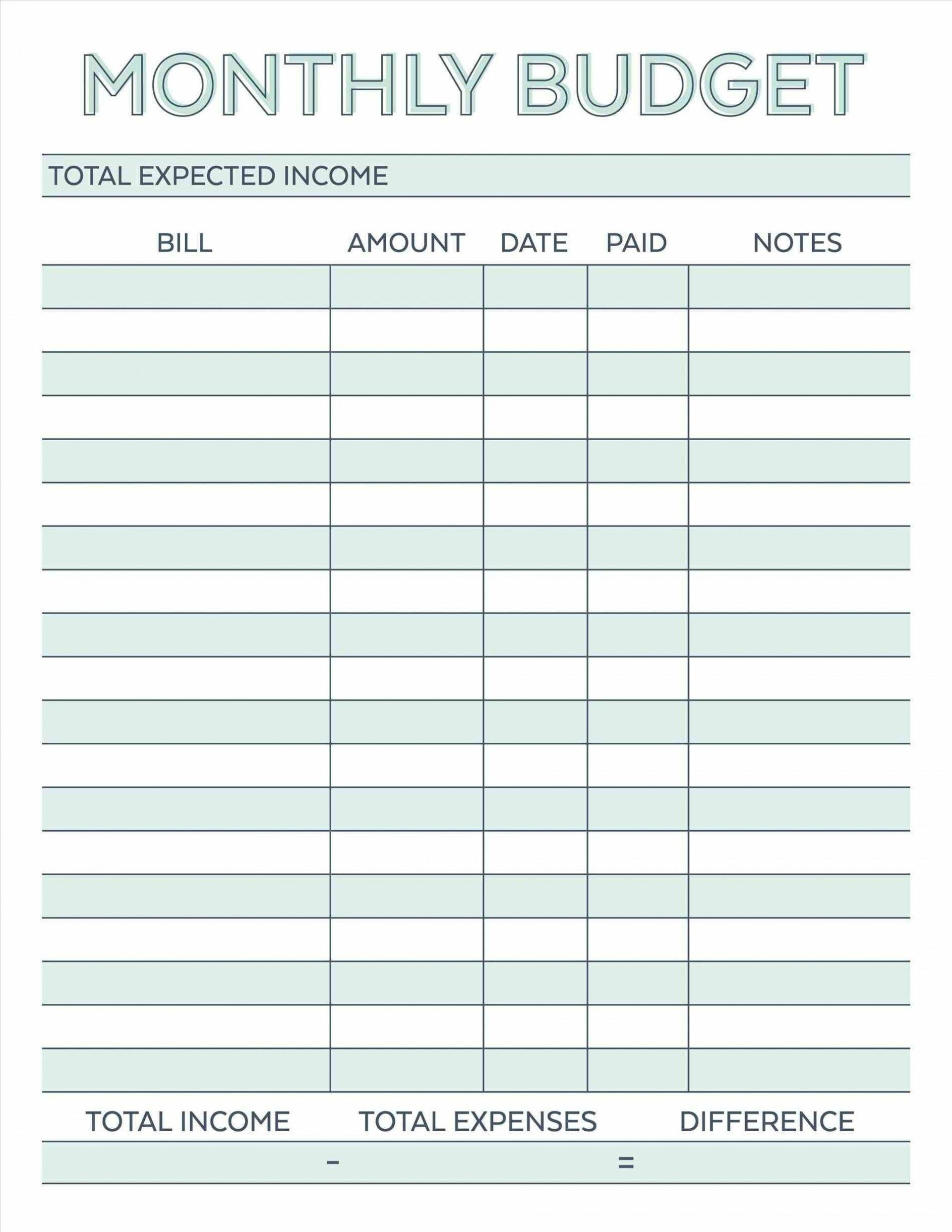 000 Astounding Free Simple Home Budget Template Photo 1920