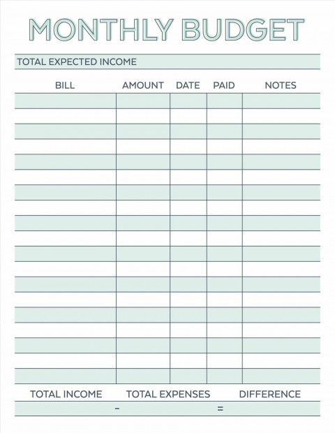 000 Astounding Free Simple Home Budget Template Photo 480