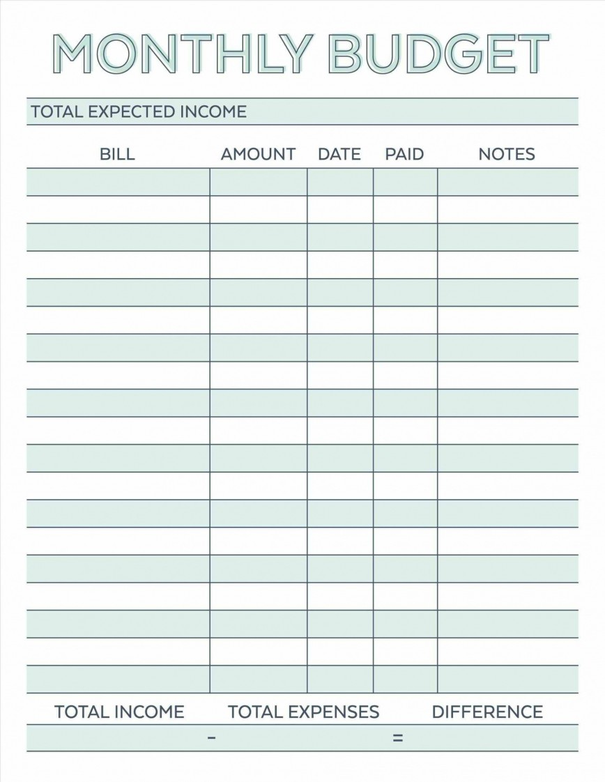000 Astounding Free Simple Home Budget Template Photo 868