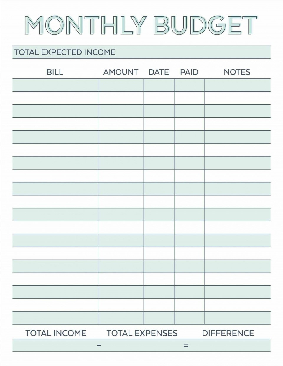 000 Astounding Free Simple Home Budget Template Photo 960