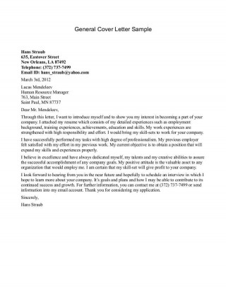 000 Astounding Generic Cover Letter For Resume Inspiration  General Example320
