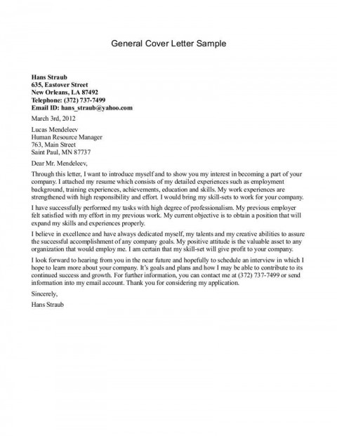 000 Astounding Generic Cover Letter For Resume Inspiration  General Example480