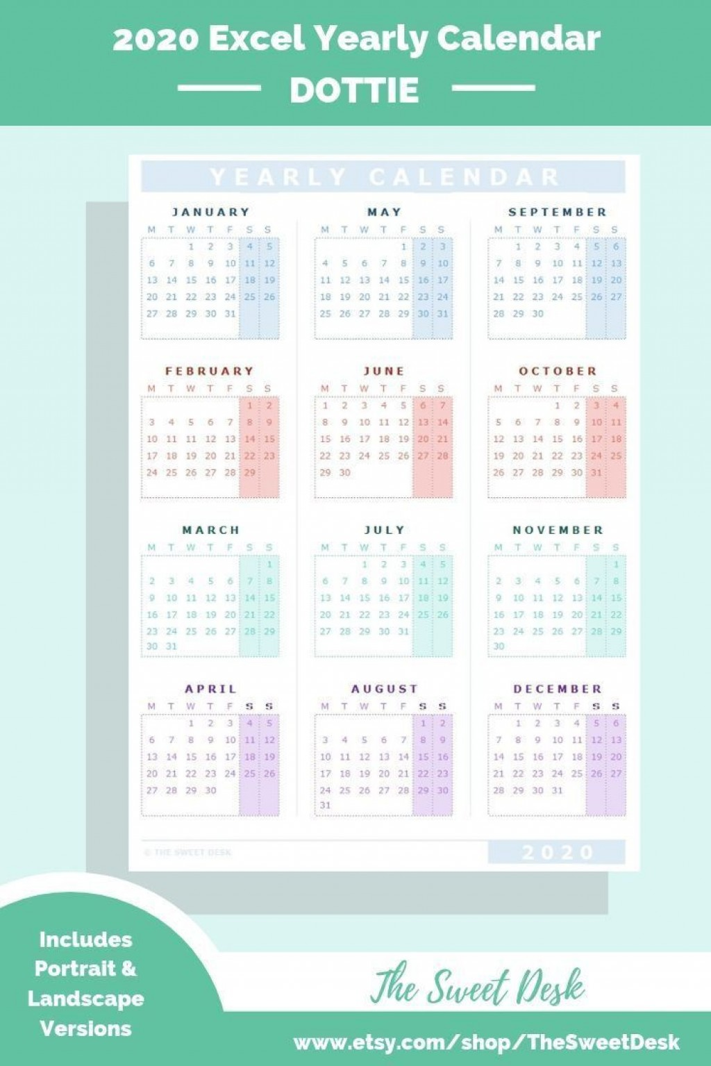 000 Awesome Calendar 2020 Template Excel Picture  Monthly Free Uk In Format DownloadLarge