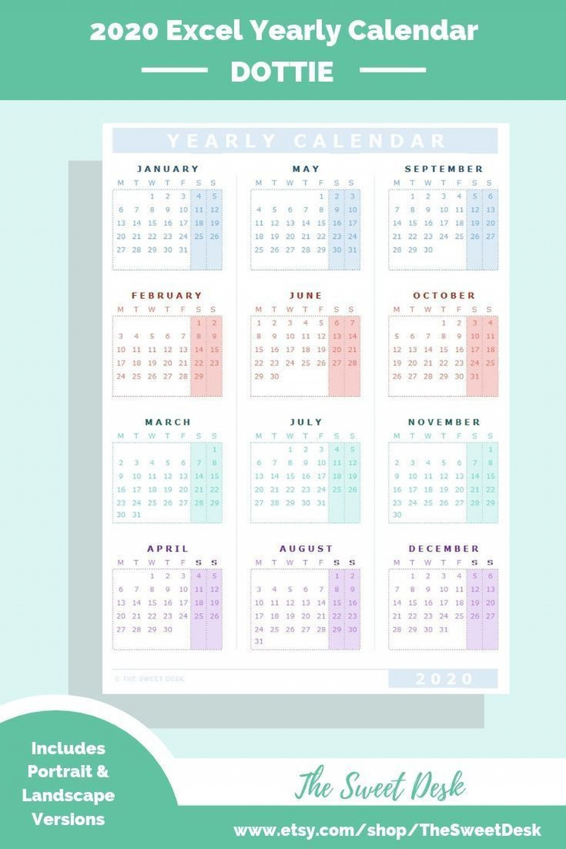 000 Awesome Calendar 2020 Template Excel Picture  Monthly Free Uk In Format Download1920