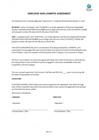 000 Awesome Employee Non Compete Agreement Template High Resolution  Free Confidentiality Non-compete Disclosure320