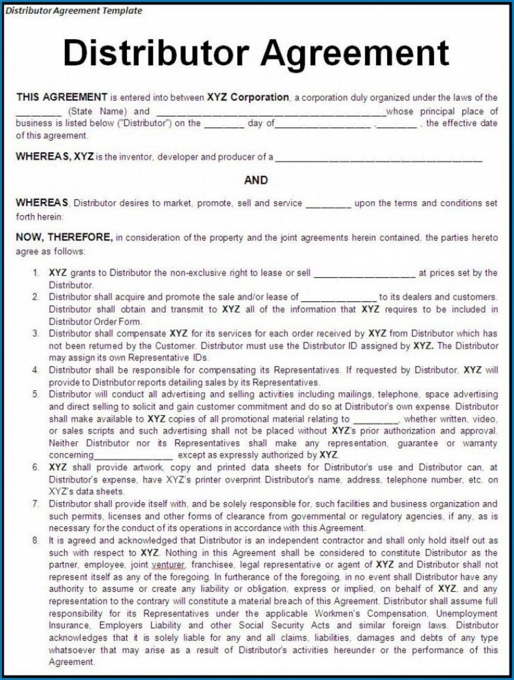000 Awesome Exclusive Distribution Agreement Template Free Idea  Download Australia NonLarge