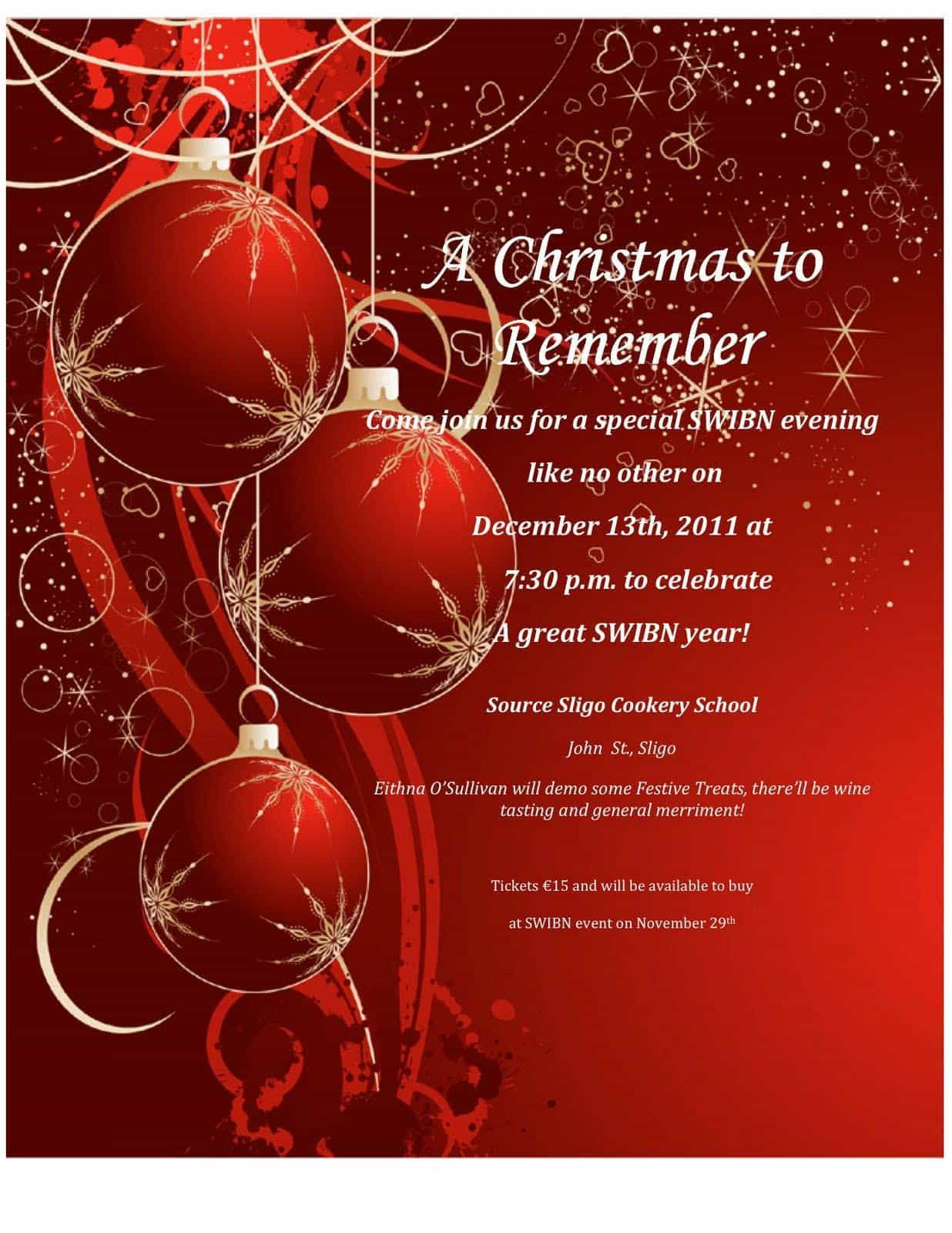 000 Awesome Free Christma Invitation Template Word Sample  Holiday Party EditableFull