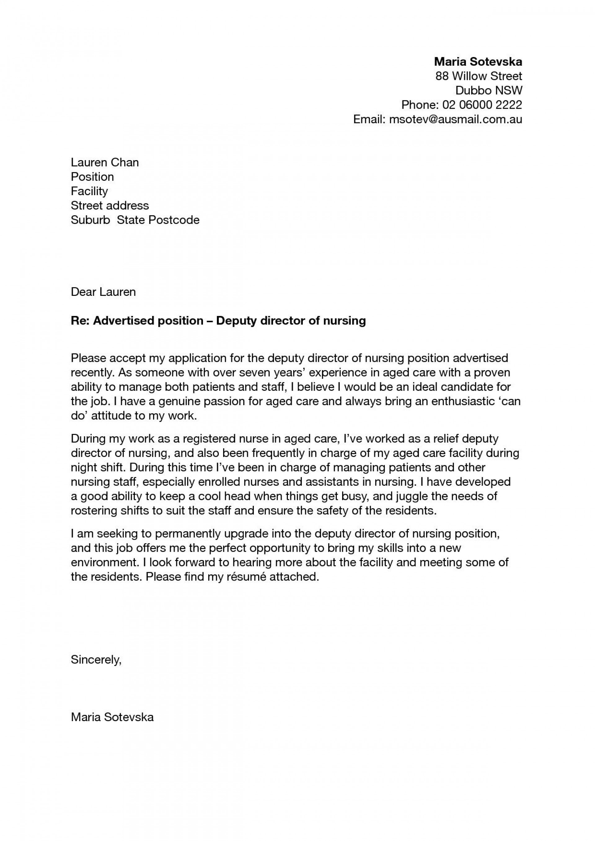 000 Awesome Nursing Cover Letter Template Inspiration  New Grad Word School1920
