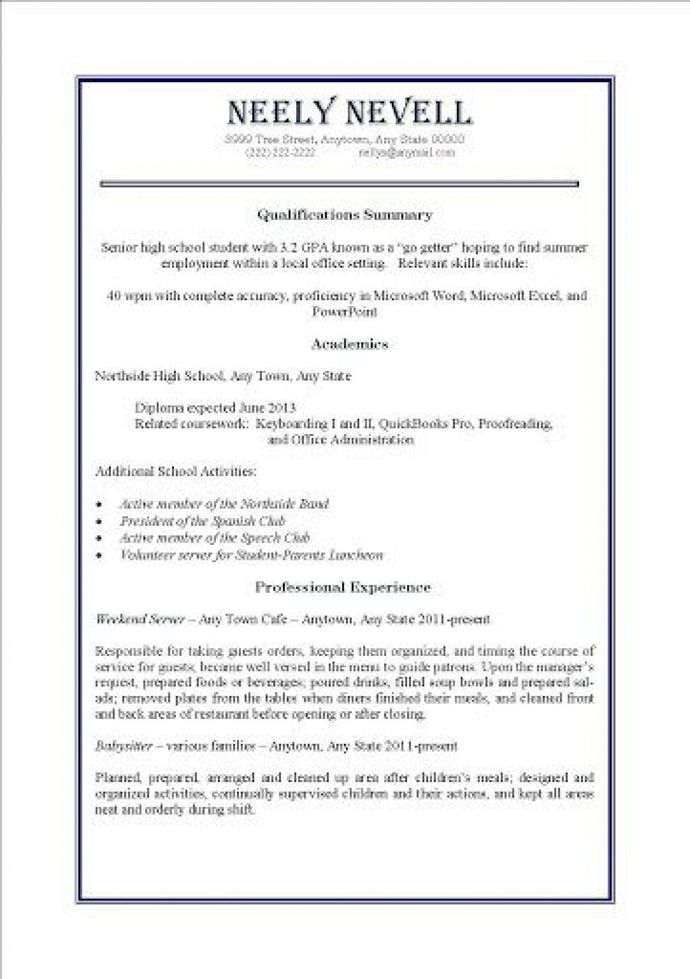 000 Awesome Resume Template For Teen High Definition  Teenager First Job Australia1400