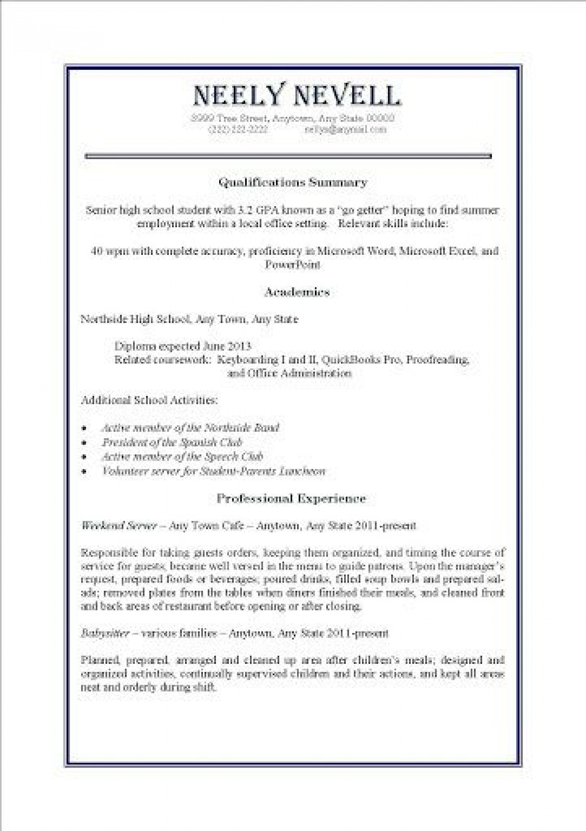 000 Awesome Resume Template For Teen High Definition  Teenager First Job Australia1920