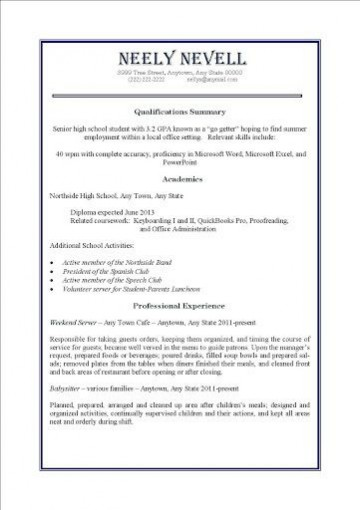 000 Awesome Resume Template For Teen High Definition  Teenager First Job Australia360