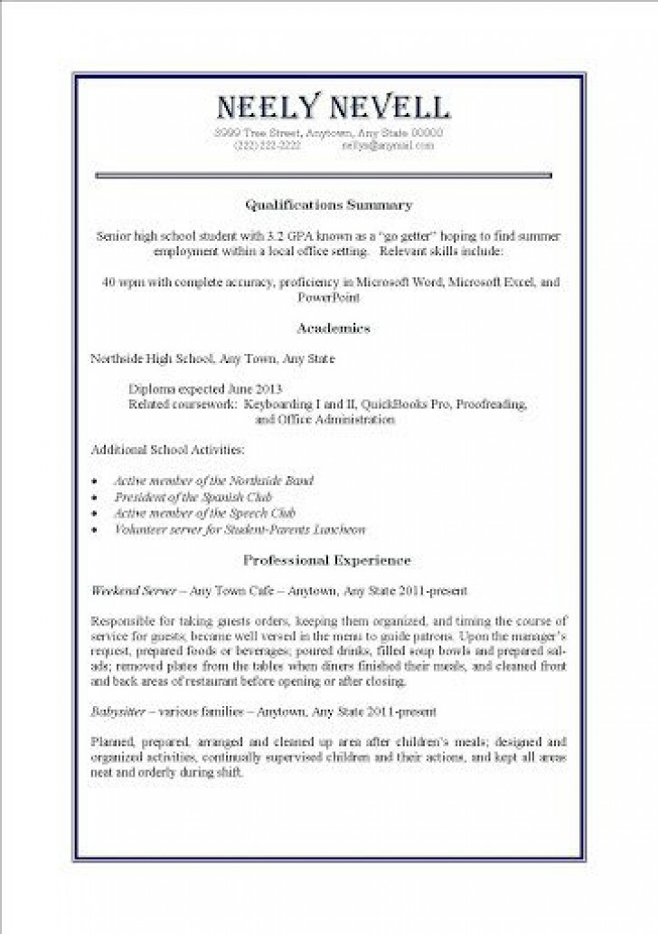 000 Awesome Resume Template For Teen High Definition  Teenager First Job Australia728
