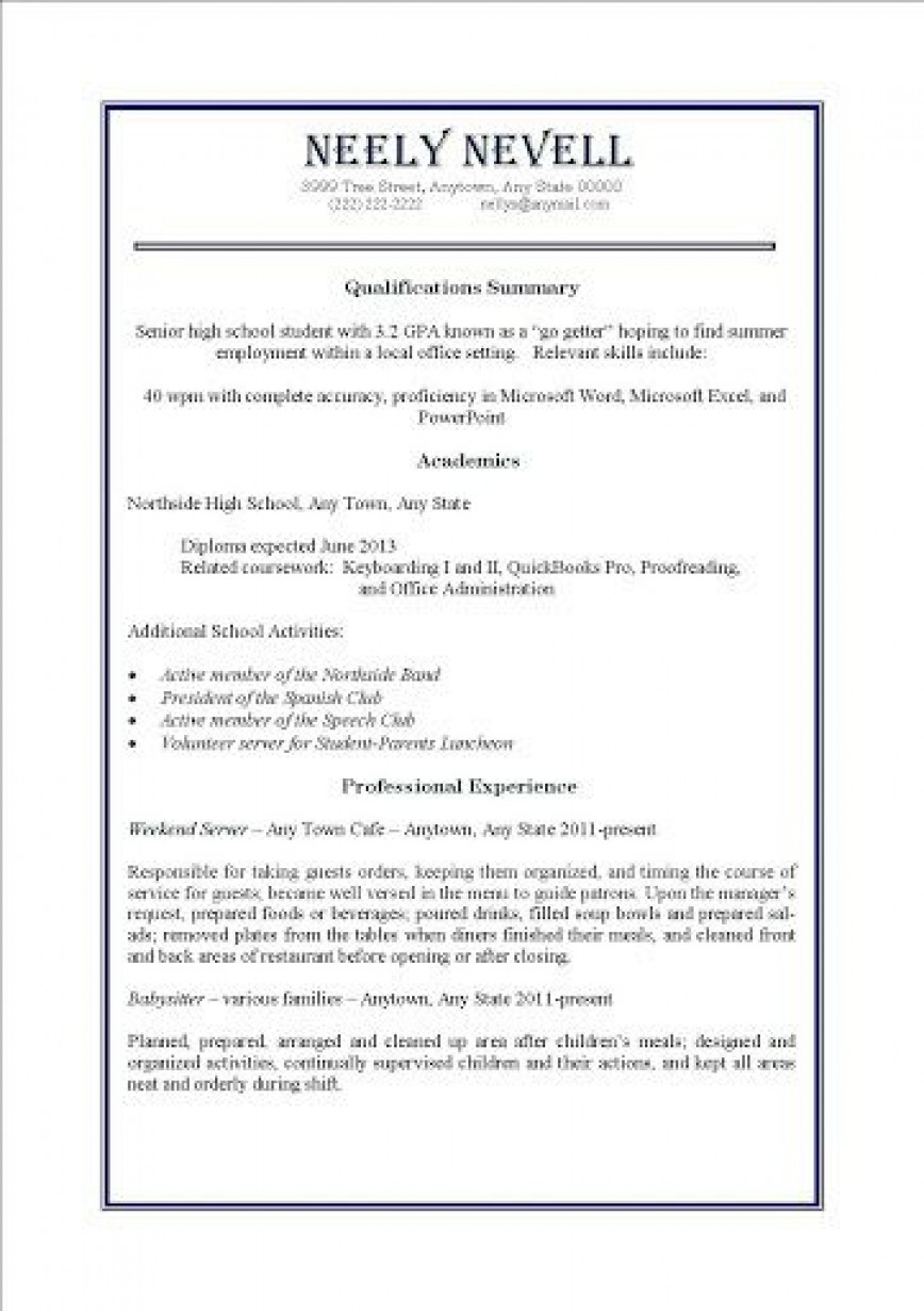 000 Awesome Resume Template For Teen High Definition  Teenager First Job Australia868