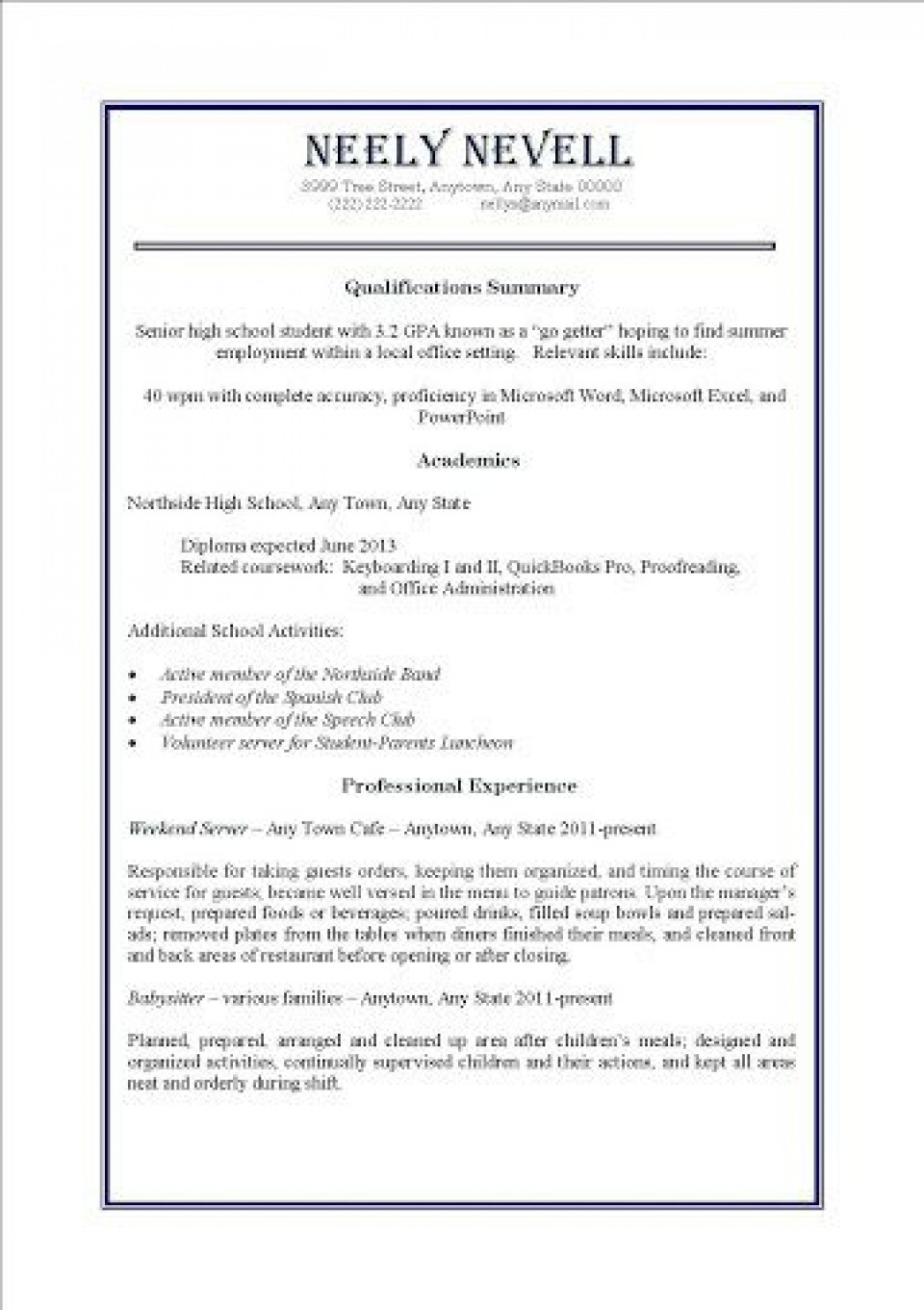 000 Awesome Resume Template For Teen High Definition  Teenager First Job Australia960