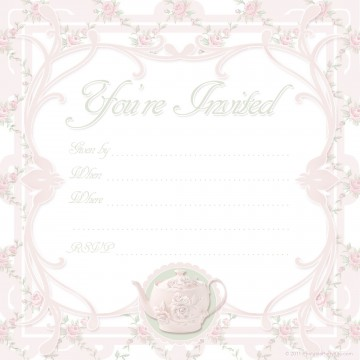 000 Awesome Tea Party Invitation Template High Def  Card Victorian Wording For Bridal Shower360
