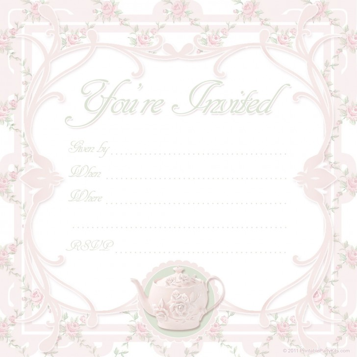000 Awesome Tea Party Invitation Template High Def  Vintage Free Editable Card Pdf728