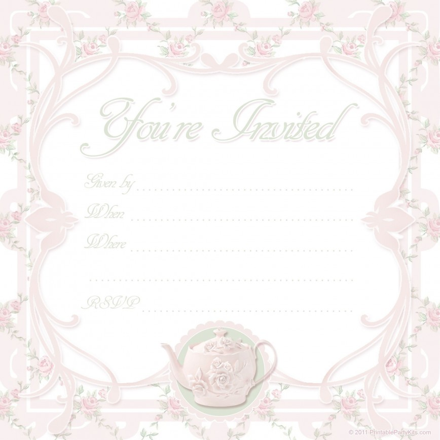 000 Awesome Tea Party Invitation Template High Def  Vintage Free Editable Card Pdf868