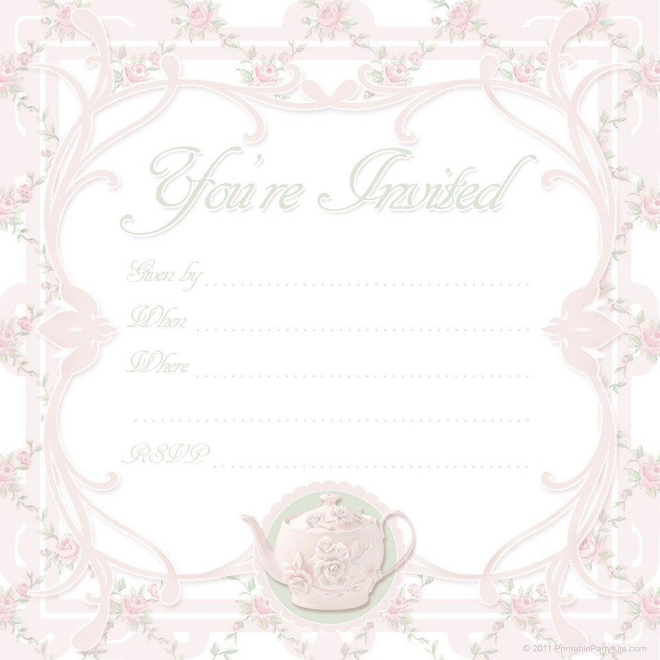 000 Awesome Tea Party Invitation Template High Def  Vintage Free Editable Card Pdf960