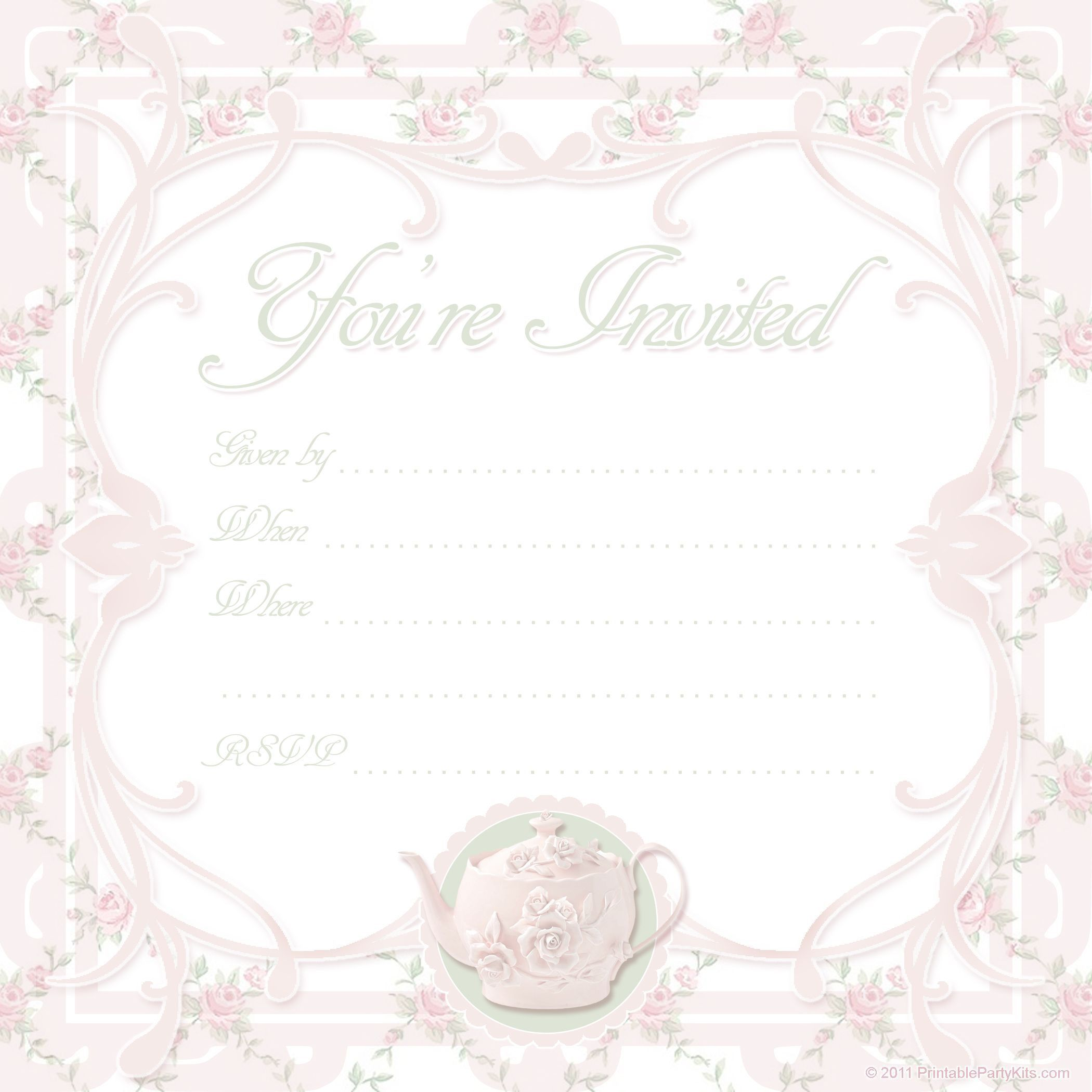 000 Awesome Tea Party Invitation Template High Def  Vintage Free Editable Card PdfFull
